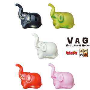 Vinyl Artist Gacha series 10 - Jakuchu Ito's Elephant by Megaidou - set of 5pcs - VAG 藝術家軟膠扭蛋 第十彈 - 若沖的象 - 一套五款